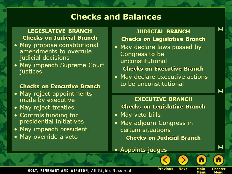 Checks and Balances LEGISLATIVE BRANCH. Checks on Judicial Branch. May propose constitutional amendments to overrule judicial decisions.