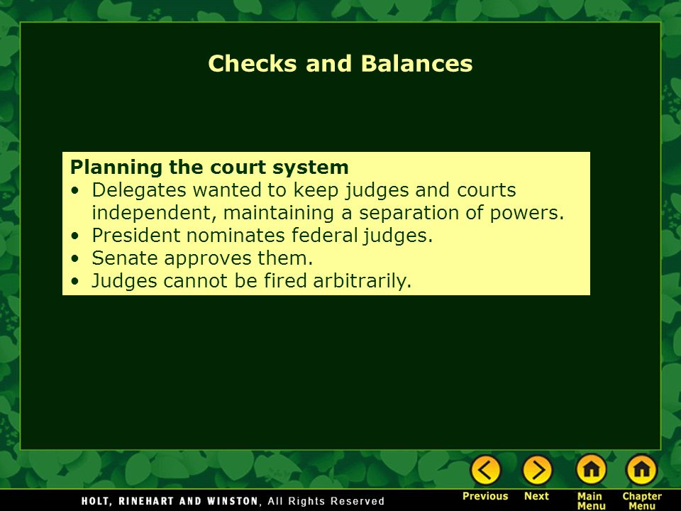 Checks and Balances Planning the court system