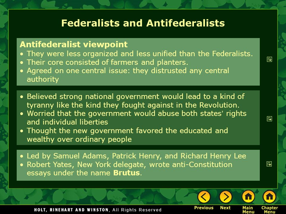 Arguments of Fedrealists v. anti-Federalists