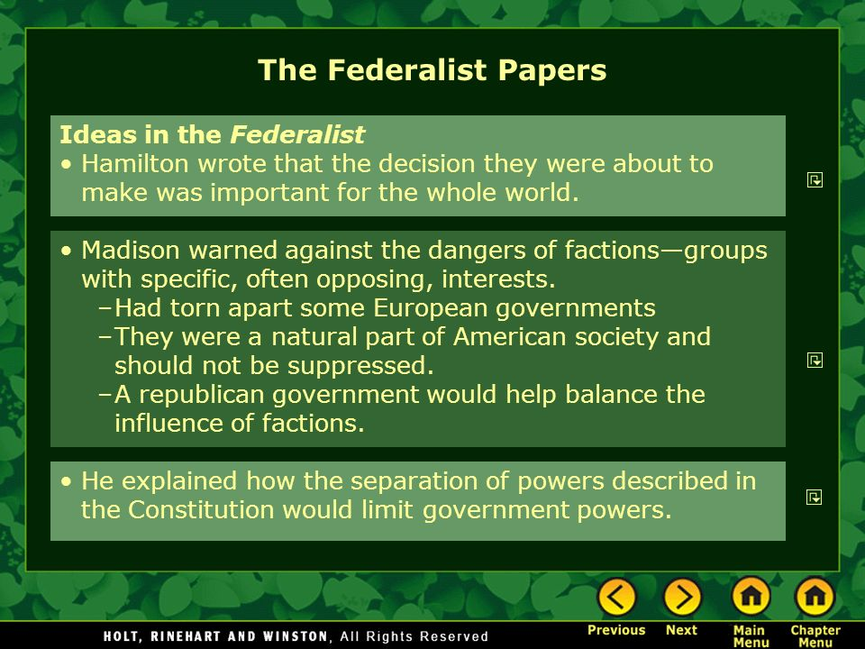 The Federalist Papers Ideas in the Federalist