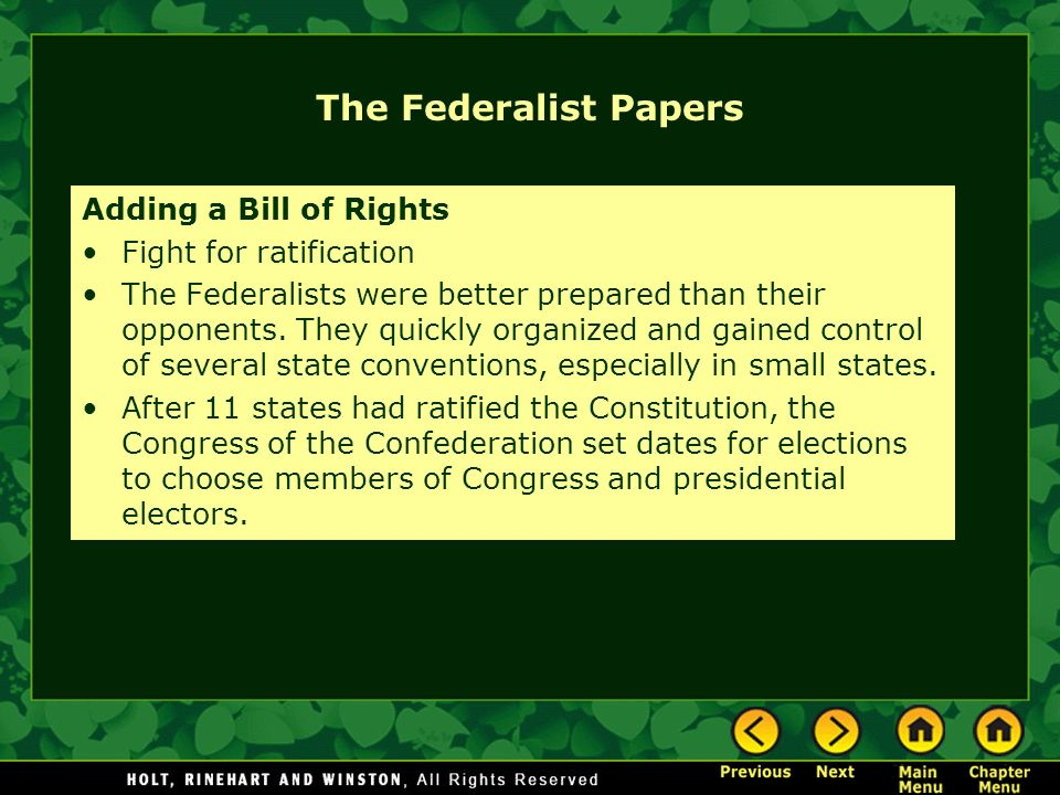 The Federalist Papers Adding a Bill of Rights Fight for ratification