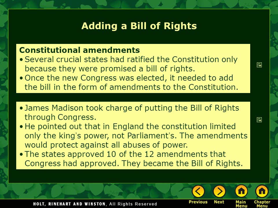 Adding a Bill of Rights Constitutional amendments