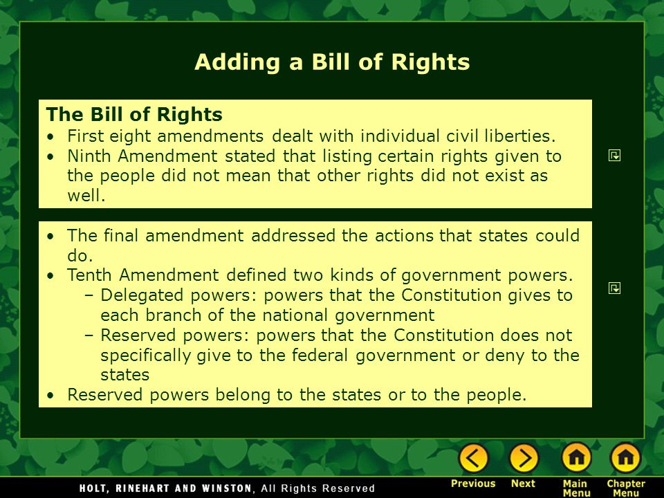 Adding a Bill of Rights The Bill of Rights