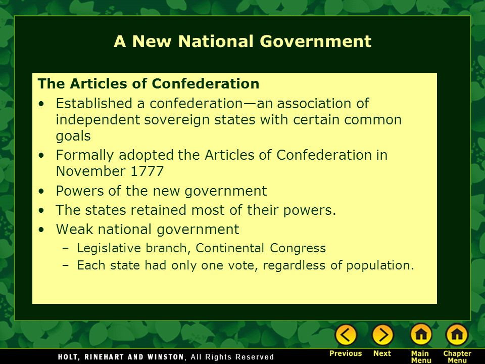 A New National Government