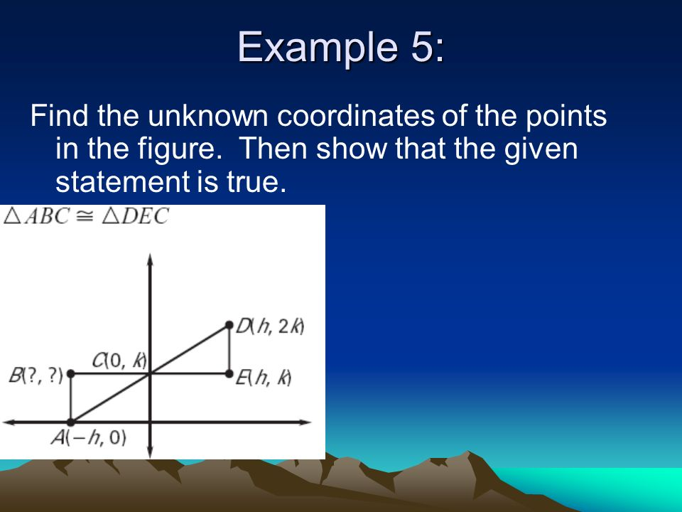 Example 5: Find the unknown coordinates of the points in the figure.
