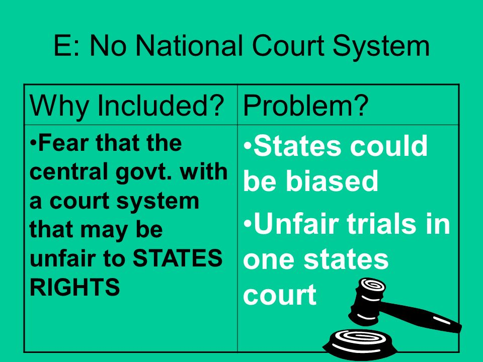 E: No National Court System