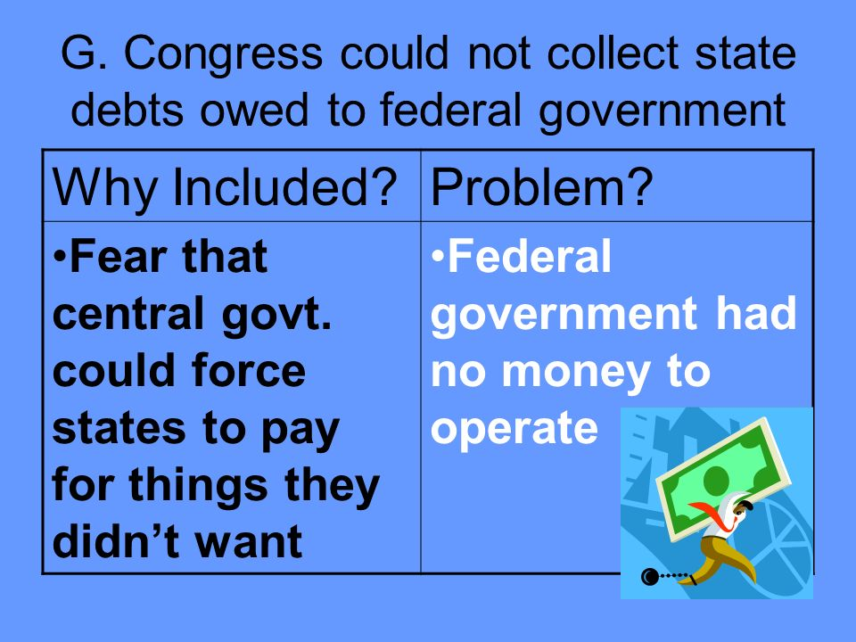 G. Congress could not collect state debts owed to federal government