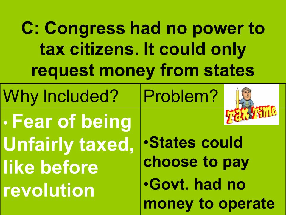 C: Congress had no power to tax citizens