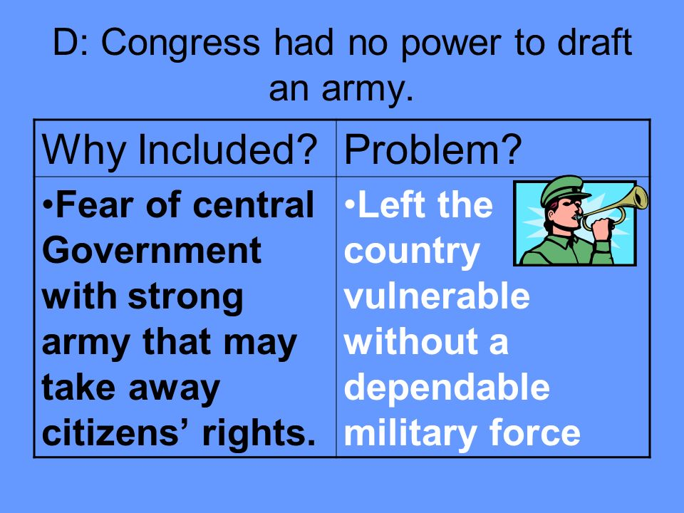 D: Congress had no power to draft an army.