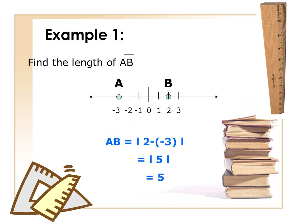 Example 1: A B Find the length of AB AB = l 2-(-3) l = l 5 l = 5 1 2 3