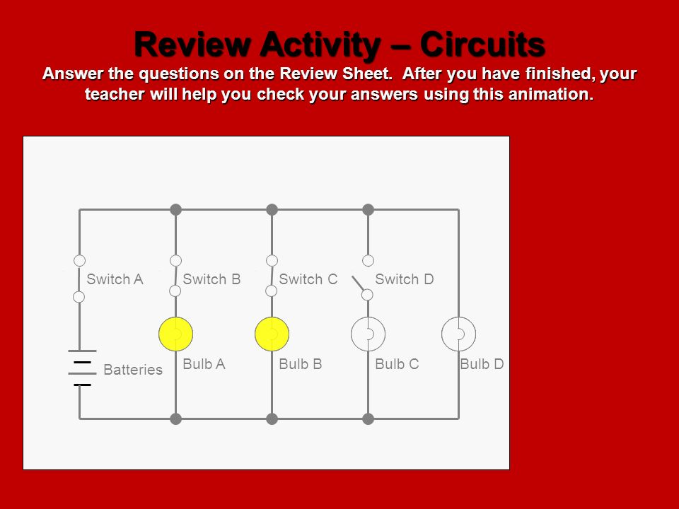 Review Activity – Circuits Answer the questions on the Review Sheet