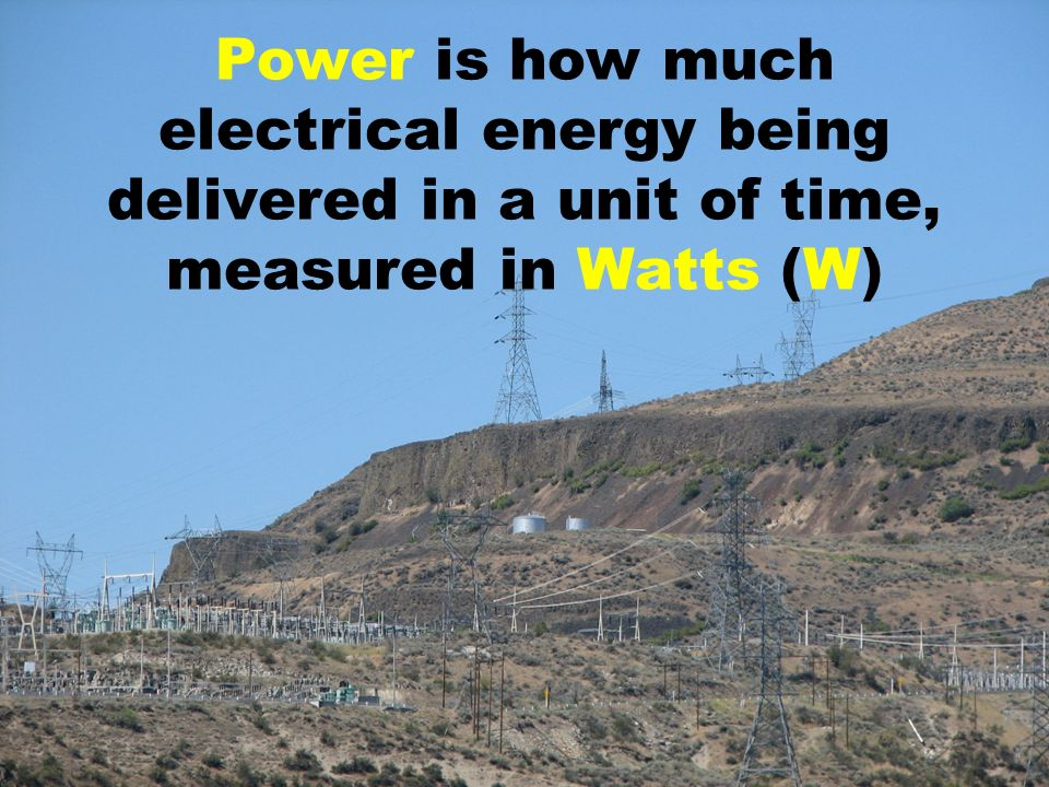 Power is how much electrical energy being delivered in a unit of time, measured in Watts (W)