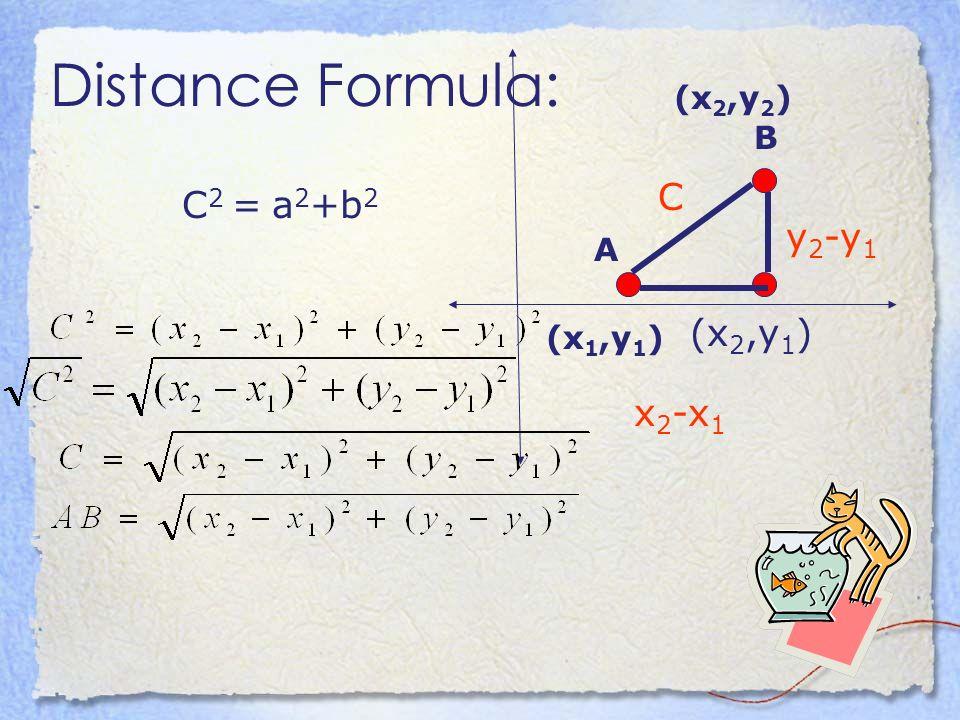 Distance Formula: A B (x2,y2) C C2 = a2+b2 y2-y1 (x2,y1) (x1,y1) x2-x1