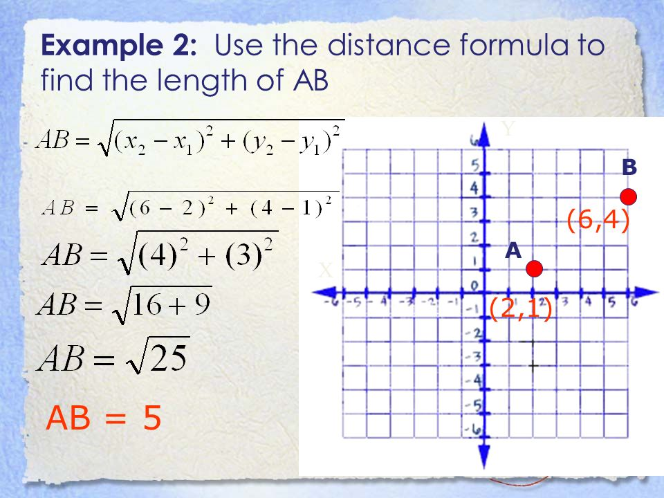 Example 2: Use the distance formula to find the length of AB