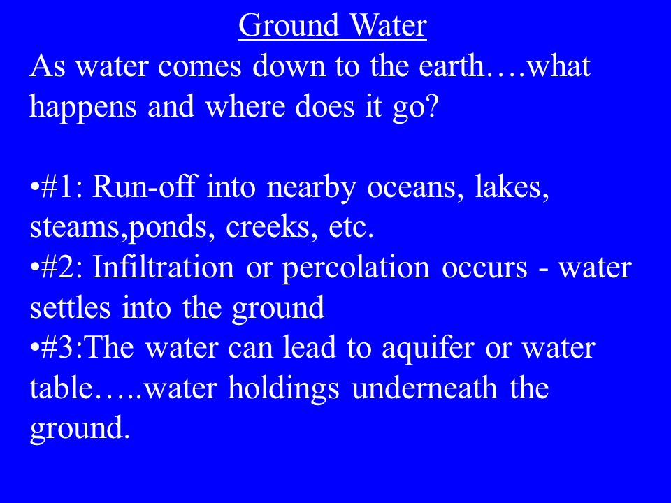 Ground Water As water comes down to the earth….what happens and where does it go #1: Run-off into nearby oceans, lakes, steams,ponds, creeks, etc.