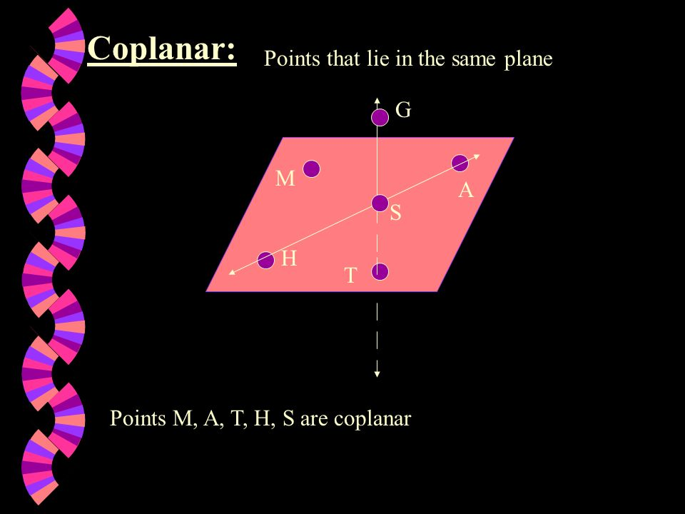 Coplanar: Points that lie in the same plane G M A S H T