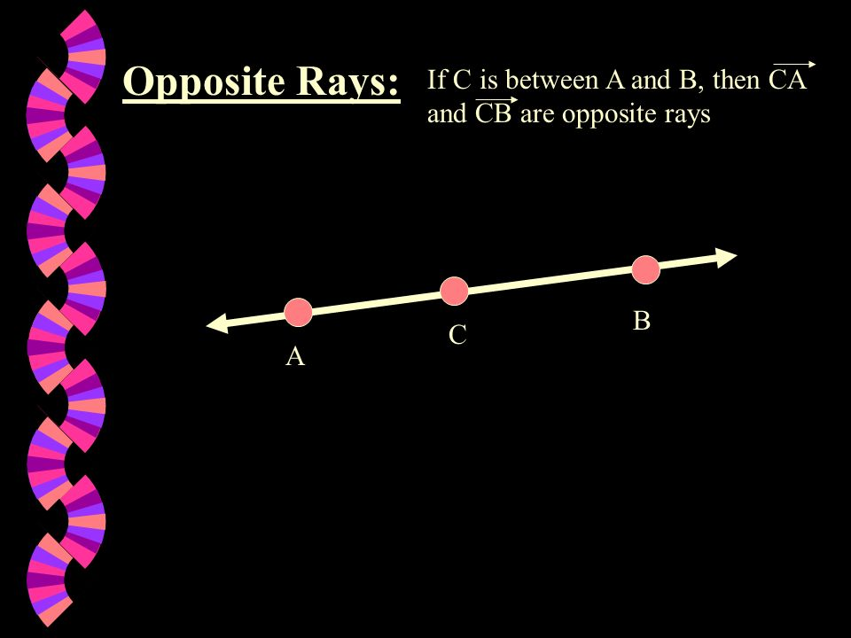 Opposite Rays: If C is between A and B, then CA and CB are opposite rays B C A