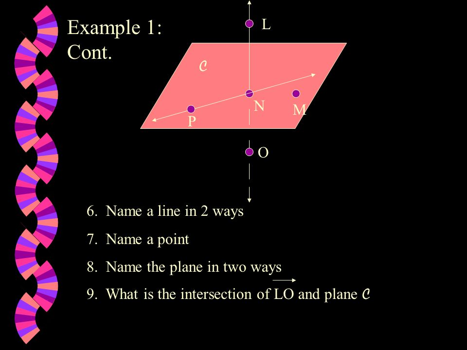 Example 1: Cont. L C N M P O 6. Name a line in 2 ways 7. Name a point