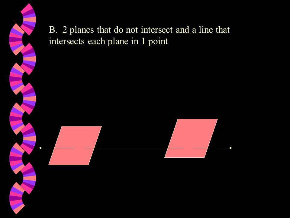 B. 2 planes that do not intersect and a line that intersects each plane in 1 point