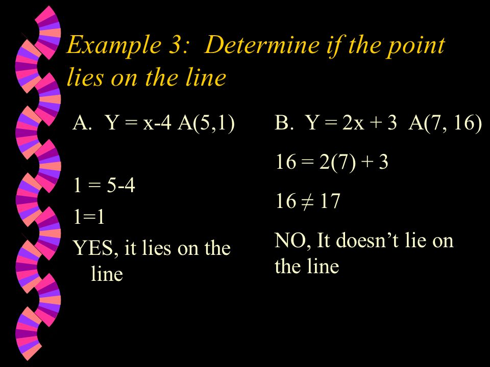 Example 3: Determine if the point lies on the line