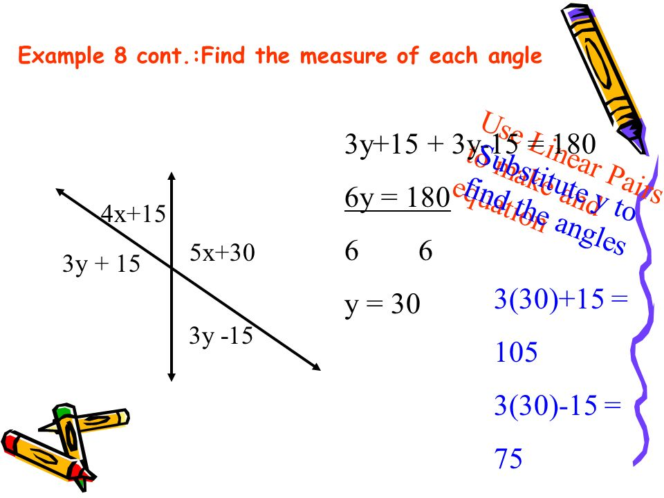 Example 8 cont.:Find the measure of each angle