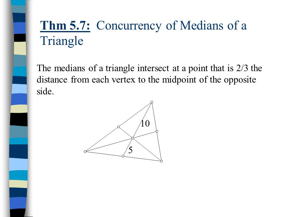 Thm 5.7: Concurrency of Medians of a Triangle