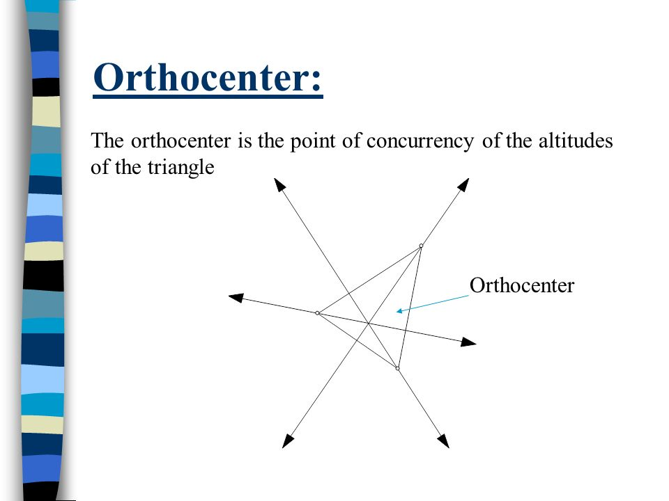 Orthocenter:The orthocenter is the point of concurrency of the altitudes of the triangle.