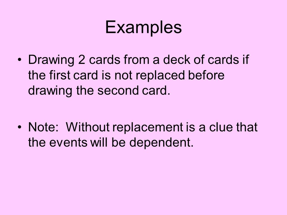 Examples Drawing 2 cards from a deck of cards if the first card is not replaced before drawing the second card.