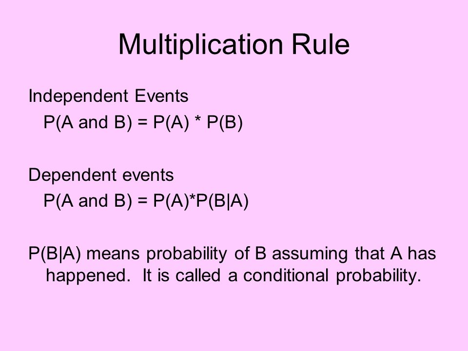 Multiplication Rule Independent Events P(A and B) = P(A) * P(B)