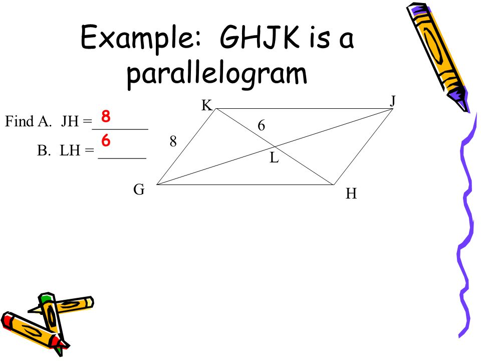 Example: GHJK is a parallelogram