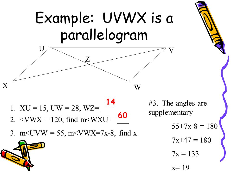 Example: UVWX is a parallelogram