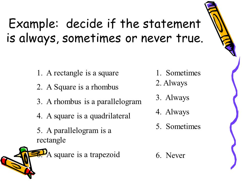 Example: decide if the statement is always, sometimes or never true.