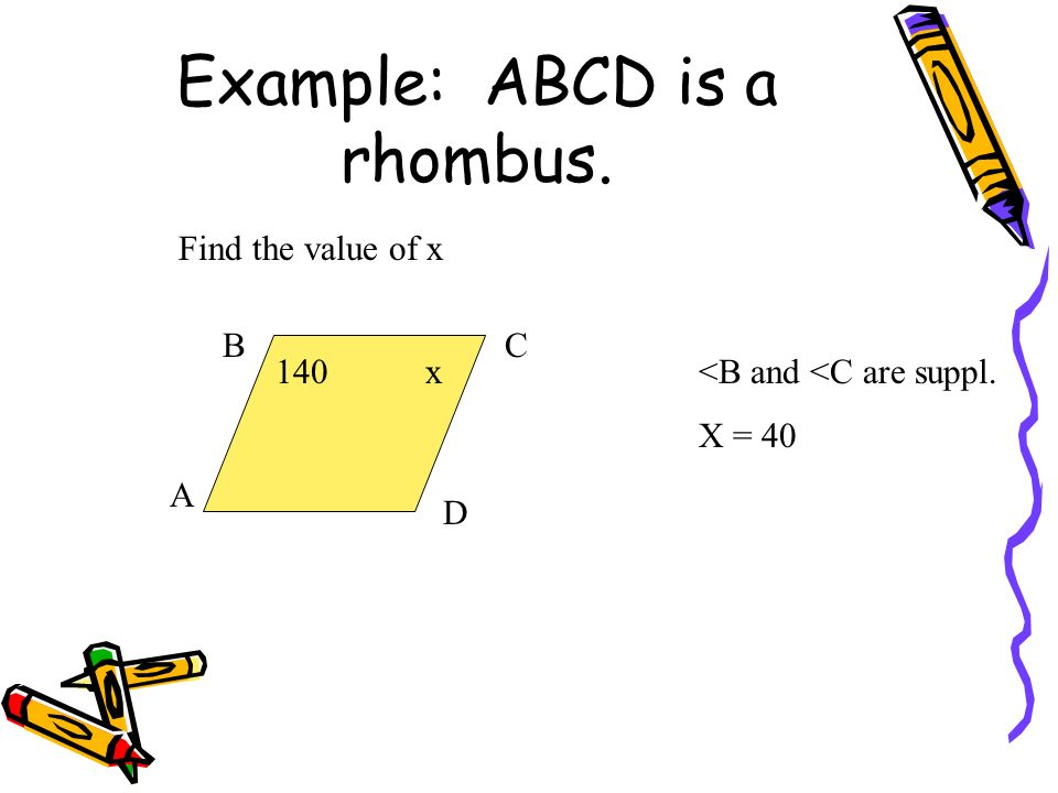 Example: ABCD is a rhombus.