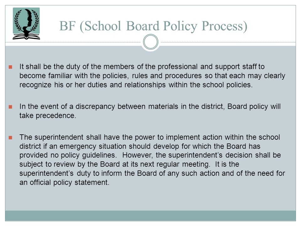 BF (School Board Policy Process)