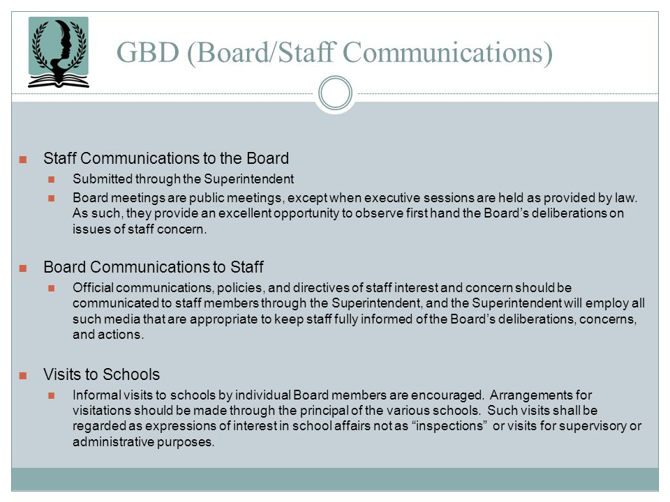 GBD (Board/Staff Communications)