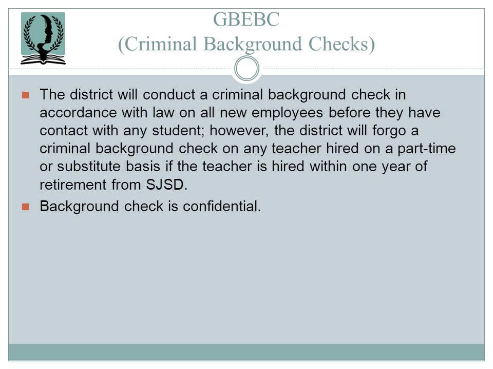 GBEBC (Criminal Background Checks)