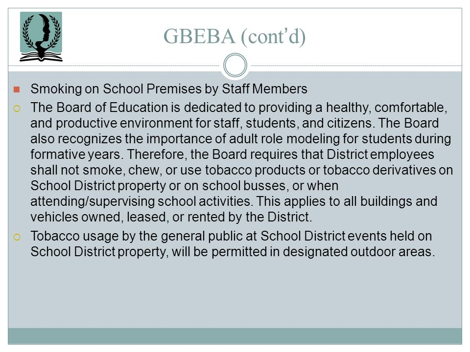 GBEBA (cont'd) Smoking on School Premises by Staff Members
