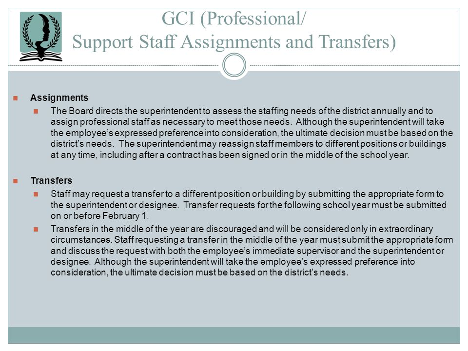 GCI (Professional/ Support Staff Assignments and Transfers)