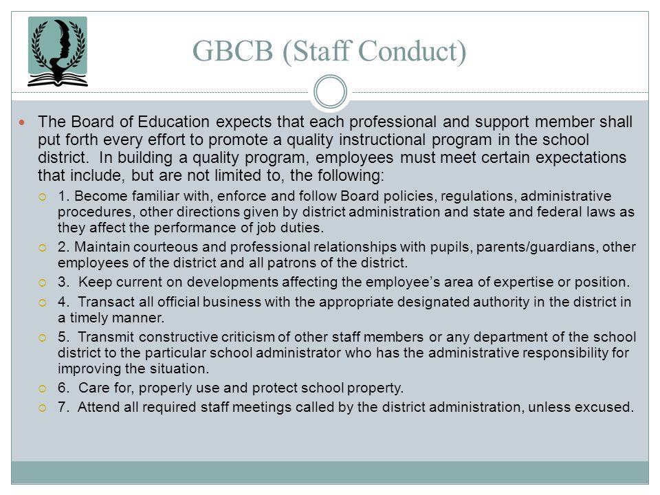 GBCB (Staff Conduct)