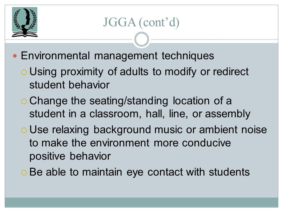 JGGA (cont'd) Environmental management techniques