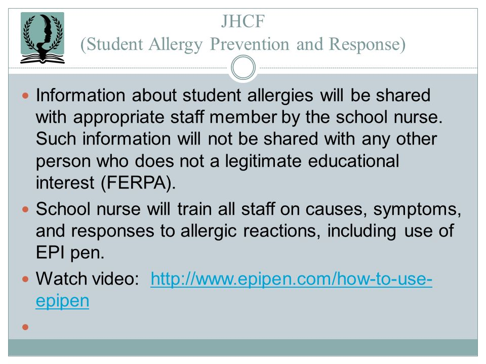 JHCF (Student Allergy Prevention and Response)