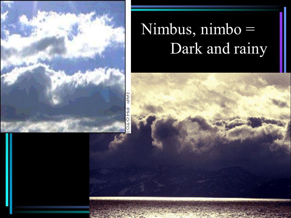Nimbus, nimbo = Dark and rainy