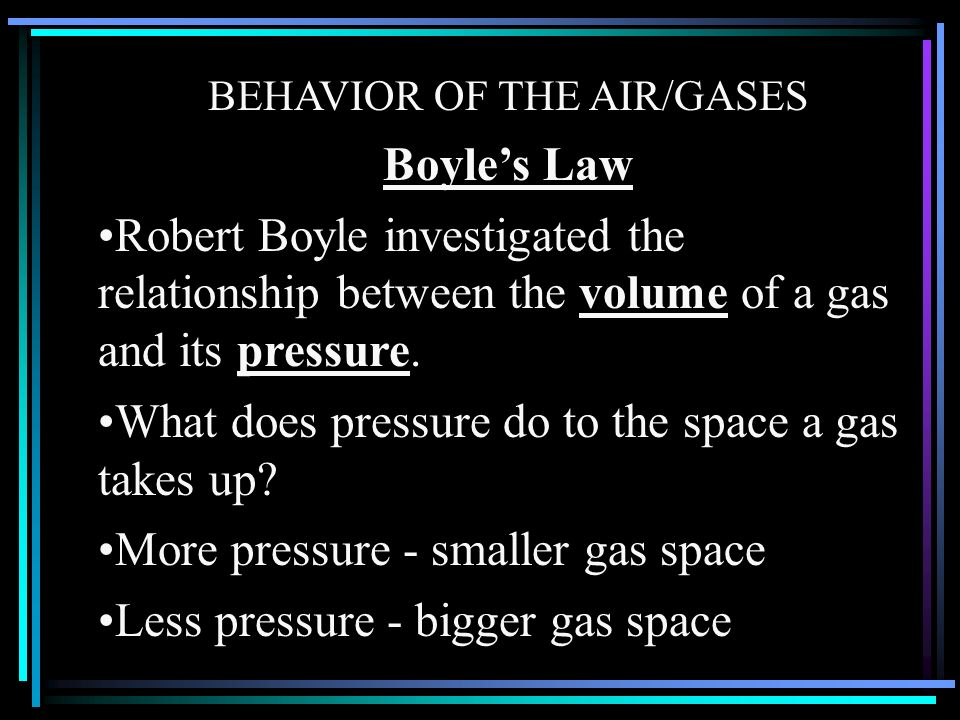 What does pressure do to the space a gas takes up