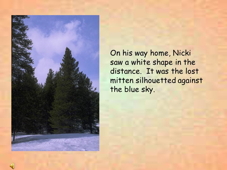 On his way home, Nicki saw a white shape in the distance