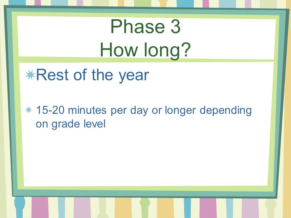 Phase 3 How long Rest of the year