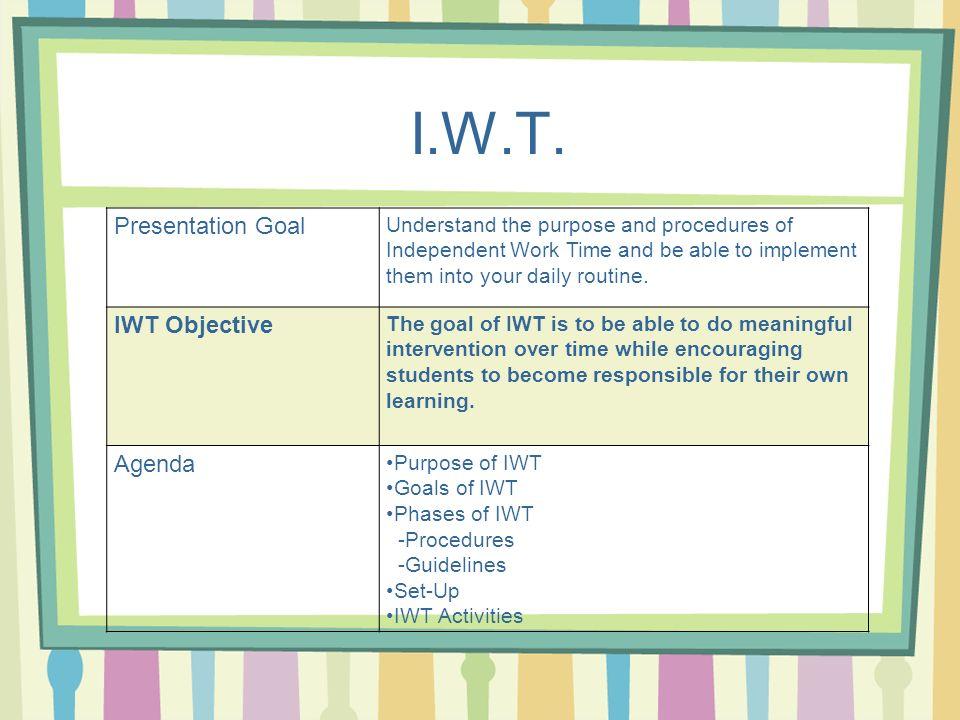 I.W.T. Presentation Goal IWT Objective Agenda