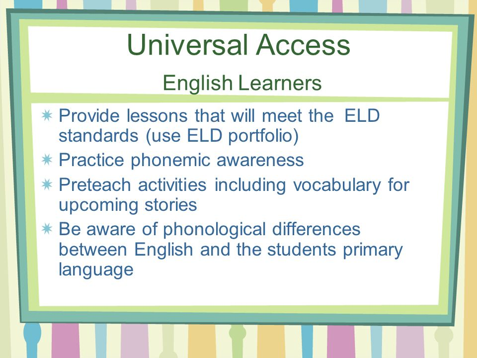 Universal Access English Learners