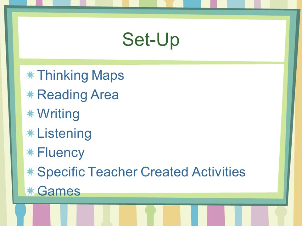 Set-Up Thinking Maps Reading Area Writing Listening Fluency