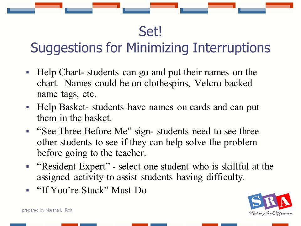 Set! Suggestions for Minimizing Interruptions