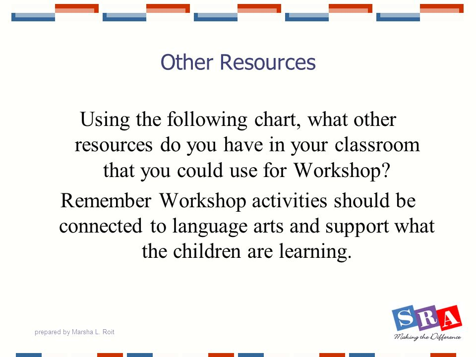 Other Resources Using the following chart, what other resources do you have in your classroom that you could use for Workshop
